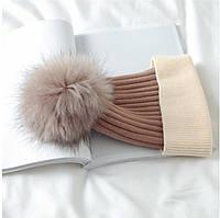 Зимняя шапка  Бежевый