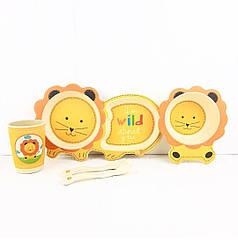 БамбуковаНабор дитячої бамбуковій посуду Stenson MH-2775 Лев
