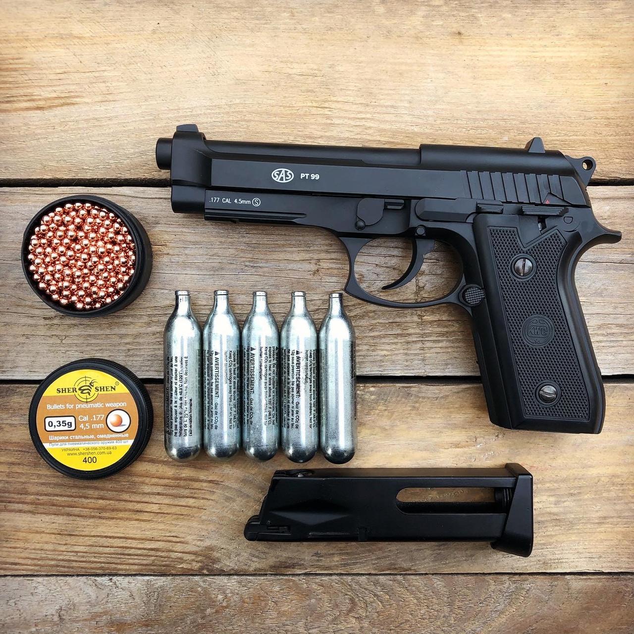 Пистолет пневматический SAS Taurus PT99 Blowback + Баллоны и шарики (металл)