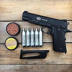Пистолет пневматический SAS M1911 Tactical Blowback + Баллоны и шарики (металл)
