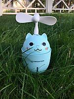 """Увлажнитель воздуха ультразвуковой в детскую комнату """"Happy Cat"""" 3в1(,usb-вентилятор,led-светильник) Голубой"""