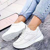 Кроссовки на платформе белые