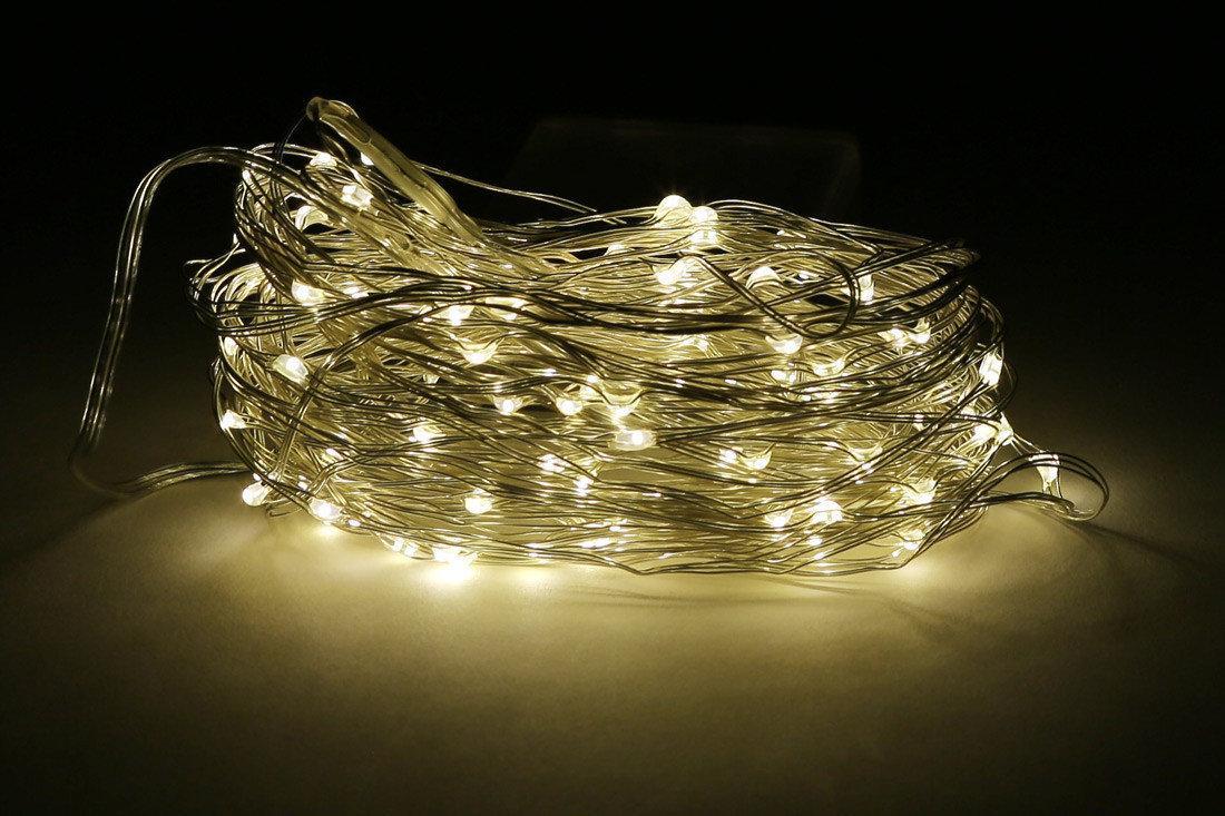 Гирлянда Bonita Капельки Росы 100 лампочек Белый Теплый, 1 линия 1000 см, прозрачный провод, от батареек