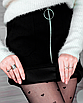 Замшевая юбка с молнией черная мини короткая с колечком, фото 5