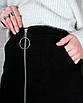 Замшевая юбка с молнией черная мини короткая с колечком, фото 9