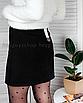 Замшевая юбка с молнией черная мини короткая с колечком, фото 6