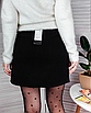 Замшевая юбка с молнией черная мини короткая с колечком, фото 7