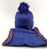 Дитяча в'язана Польська з 50 по 54 розмір шапка хомутом дитячі шапки тепла зимова, фото 1