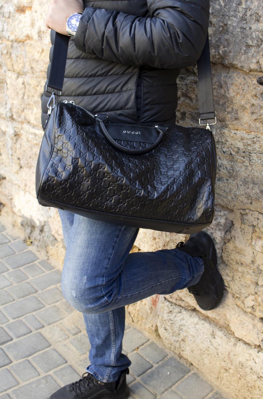 Дорожная сумка из натуральной кожи Gucci