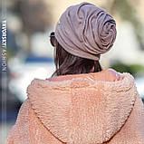 Шапка троянда драпірована з отвором для волосся сіра, фото 7
