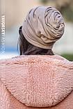 Шапка троянда драпірована з отвором для волосся сіра, фото 10