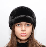 Женская зимняя шапка из цельной норки Жокейка