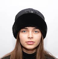 """Черная женская шапка из меха норки """"Кашемир"""""""