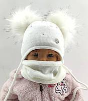 Детская вязаная Польская с 44 по 48 размер шапка хомутом детские шапки на завязках теплая флисом, фото 1