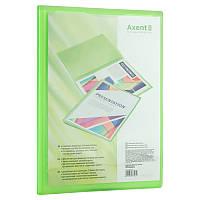 Дисплей-книга с карманом, А4, 20 файлов, прозрачная зеленая