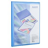 Дисплей-книга с карманом, А4, 20 файлов, прозрачная синяя