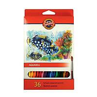 Набор цветных акварельных карандашей 36 шт. KIN 3719 Рыбки
