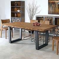 Стол обеденный «Масив», 220*100 см, стол для дома, стол с живым краем, стол на металлическом подстолье,
