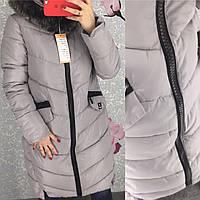 Женская длинная куртка парка пуховик UNIQLOОK с толстой молнией серая, фото 1