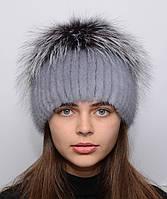 """Женская норковая шапка на вязаной основе """"Звездочка"""", фото 1"""