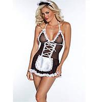 Эротический игровой костюм горничной | эротическое белье Dear Lover Brenda Черно-белый