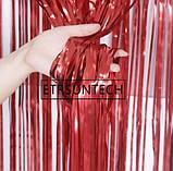 Матовый красный дождик для фотозоны (высота 3 метра, ширина 1метр), фото 3