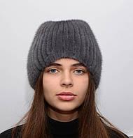 """Женская вязанная норковая шапка  """"Шарик-хвост"""""""