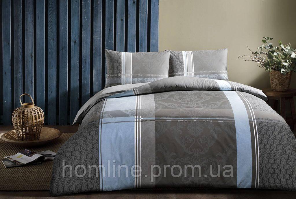 Постельное белье Tac ранфорс Delami gri v01 серый двухспального евро размера