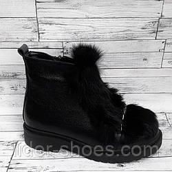 Кожаные женские ботинки с мехом