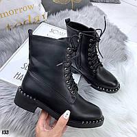 Ботинки женские чёрные из кожи на шнуровке 41