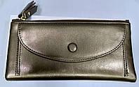 Кошелек женский серебристого цвета на кнопках и молнии, фото 1