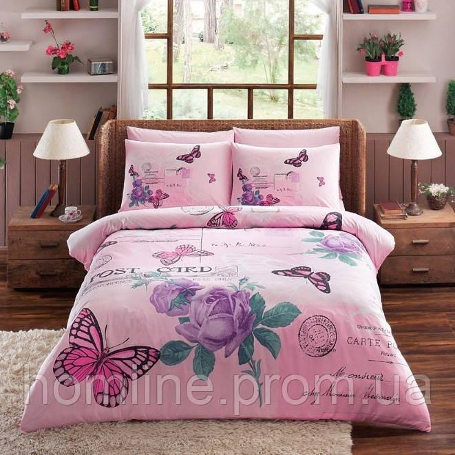 Постельное белье Tac ранфорс Nina pembe v03 розовый двухспального евро размера