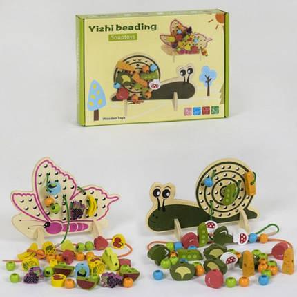 Деревянная игрушка Шнуровка, бабочка\улитка, фото 2
