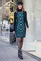Модное женское вязанное платье с этно рисунком с 44 по 54 размер