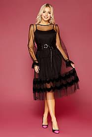 Платье вечернее черное сеточка нарядное 42 44 46 48