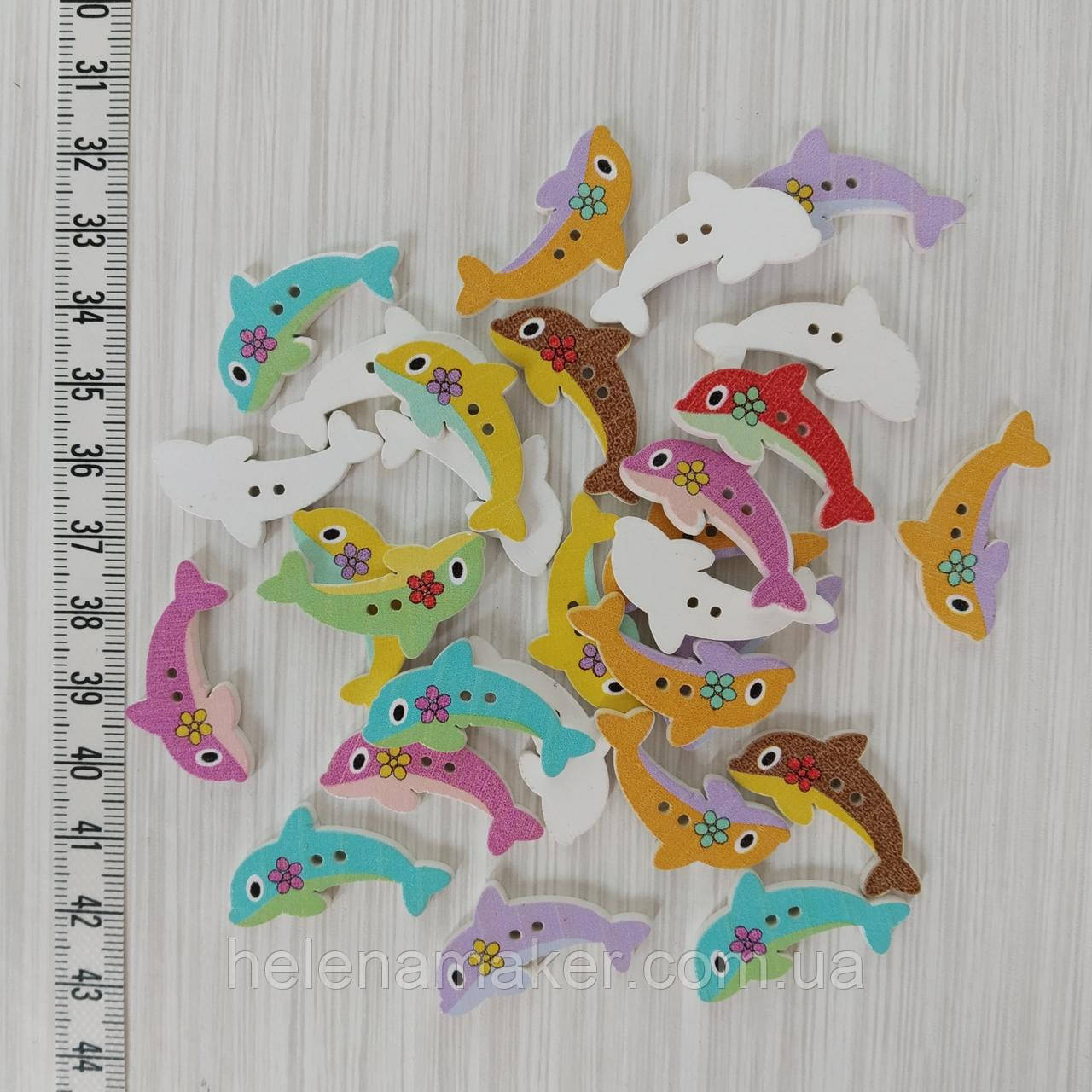 Пуговица детская деревянная Дельфин 15*30 мм