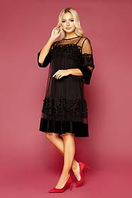 Платье вечернее черное сеточка нарядное 44-50