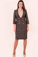 Платье - костюм из твида, костюм, одежда для офиса , на полную фигуру ,48 , 50,52,54,56.,пл 135-2. 56 Кофе с молоком