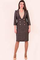 Платье - костюм из твида, костюм, одежда для офиса , на полную фигуру ,48 , 50,52,54,56.,пл 135-2. 54 Коричневый
