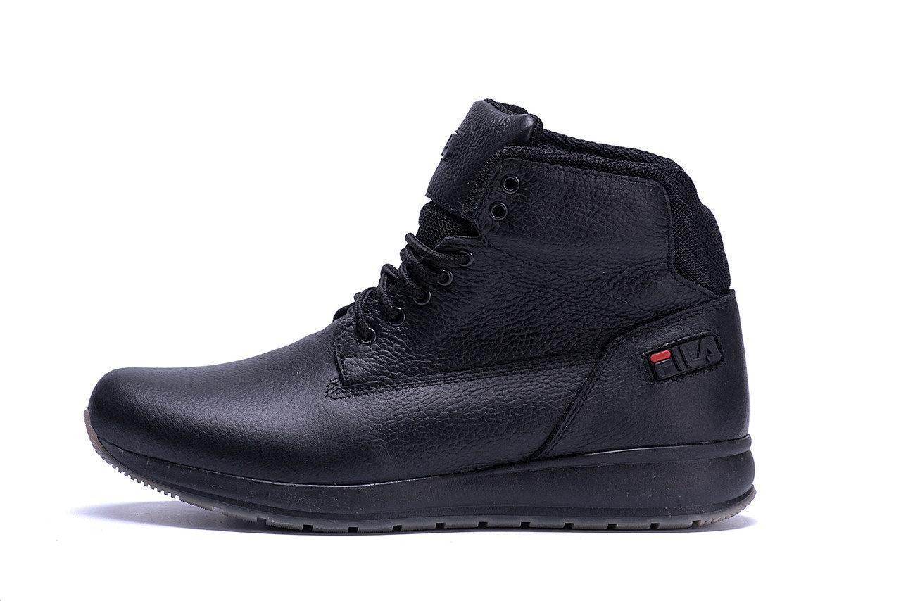 Мужские зимние кожаные ботинки FILA Soft Men Black  р. 41 43 45