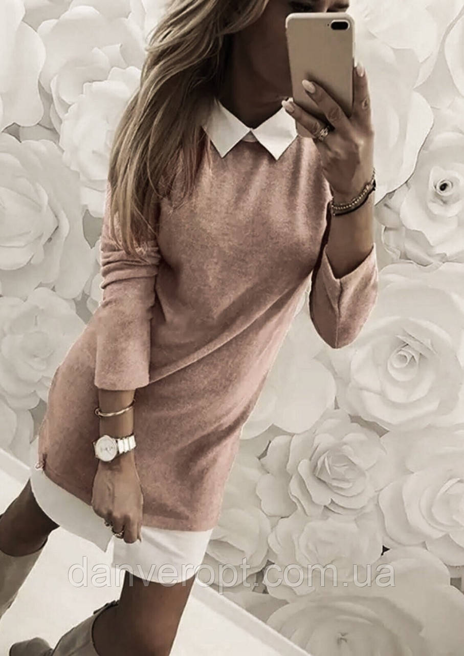 Платье-обманка женское модное стильное размер 42-46 купить оптом со склада 7км Одесса