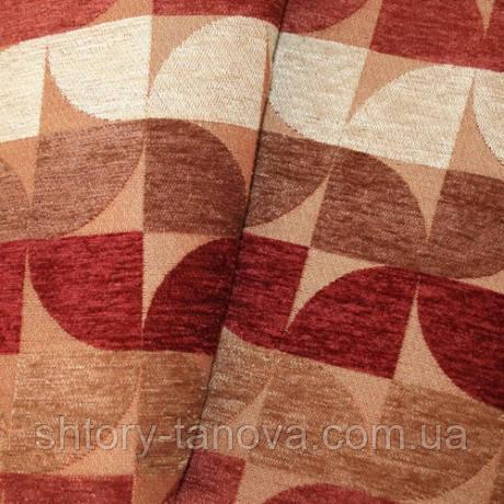 Шенилл абстракция бордо/терракот/коричневый