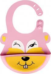 Слюнявчик силиконовый 0142 c кармашком Розовый