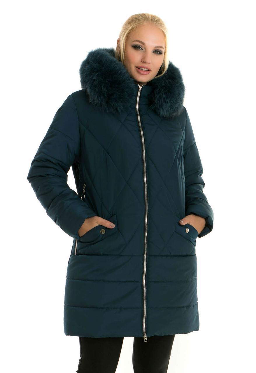 Красивая зимняя женская куртка  снатуральным мехом батал с 48 по 70 размер