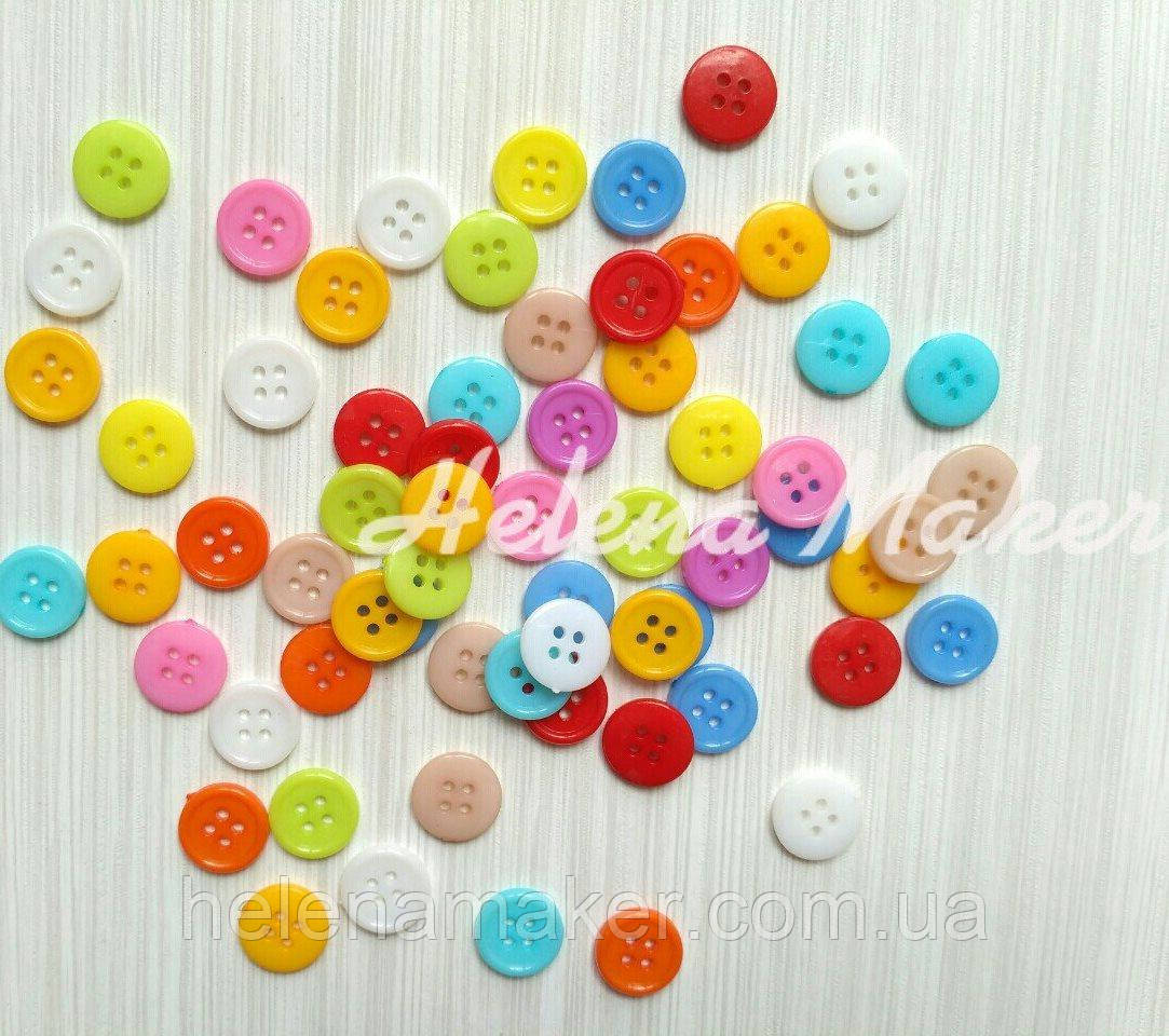 Набор круглых пластиковых пуговиц 15 мм светлых оттенков