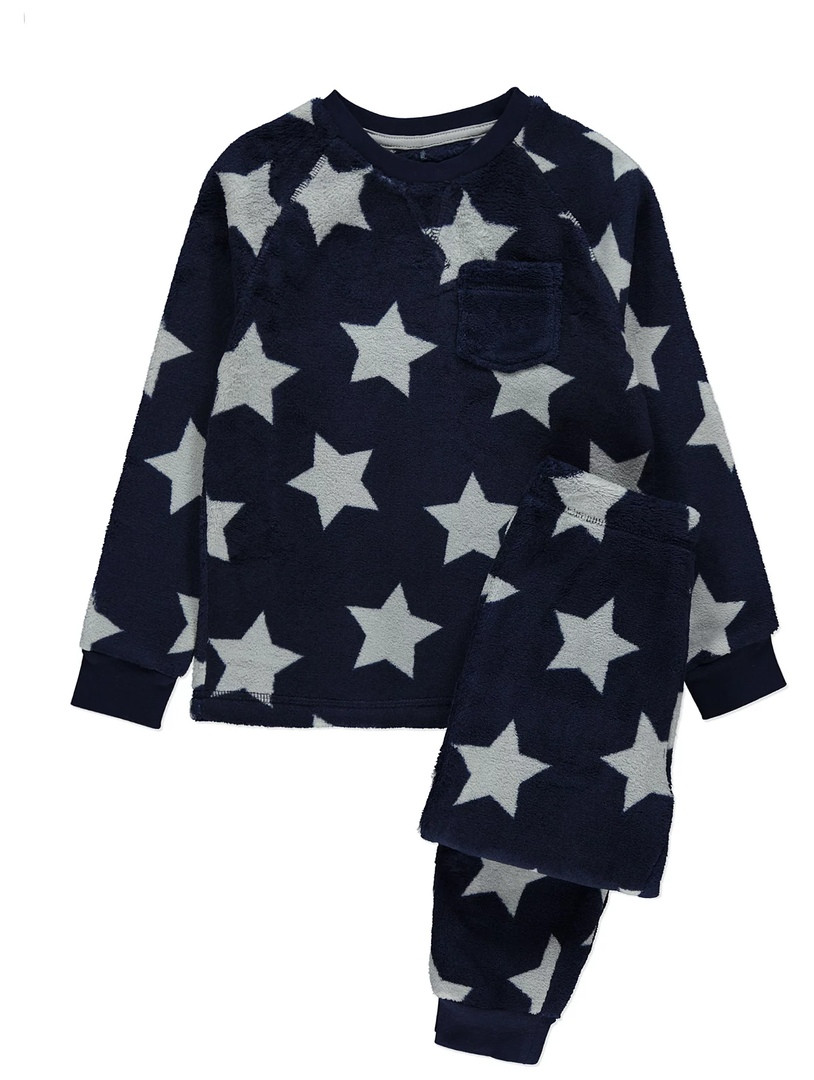 Темно-синяя флисовая пижамка в звезды Джордж для мальчика