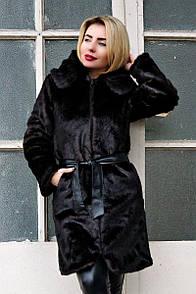 """Жіноча шуба з капюшоном з штучного хутра під норку """"Мішель"""" - розміри 42, 44, 46, 48, 50, 52, 54, 56"""