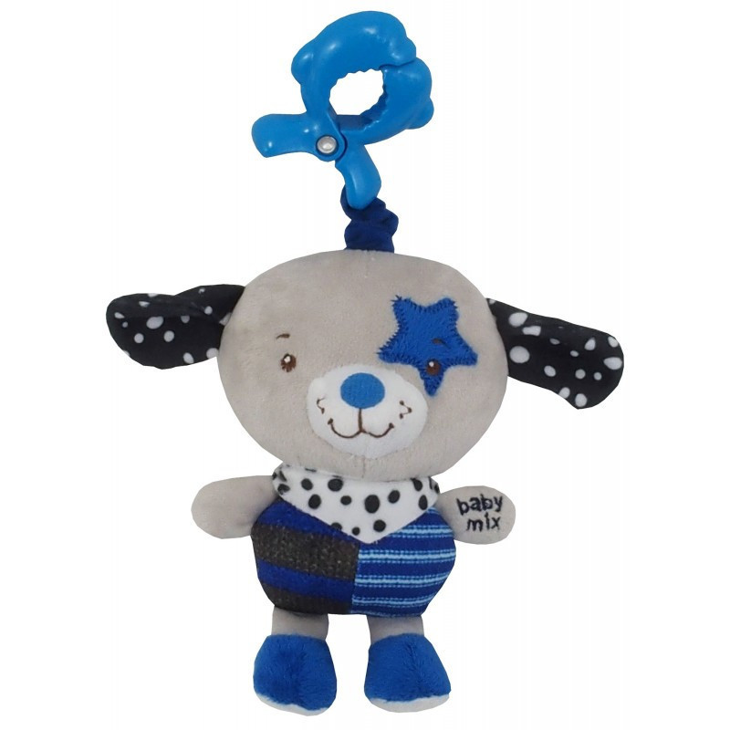 Плюшевая игрушка Baby Mix P/1212-EU00 Собачка голубой (P/1212-EU00 Собачка голубий з кліпсоою)