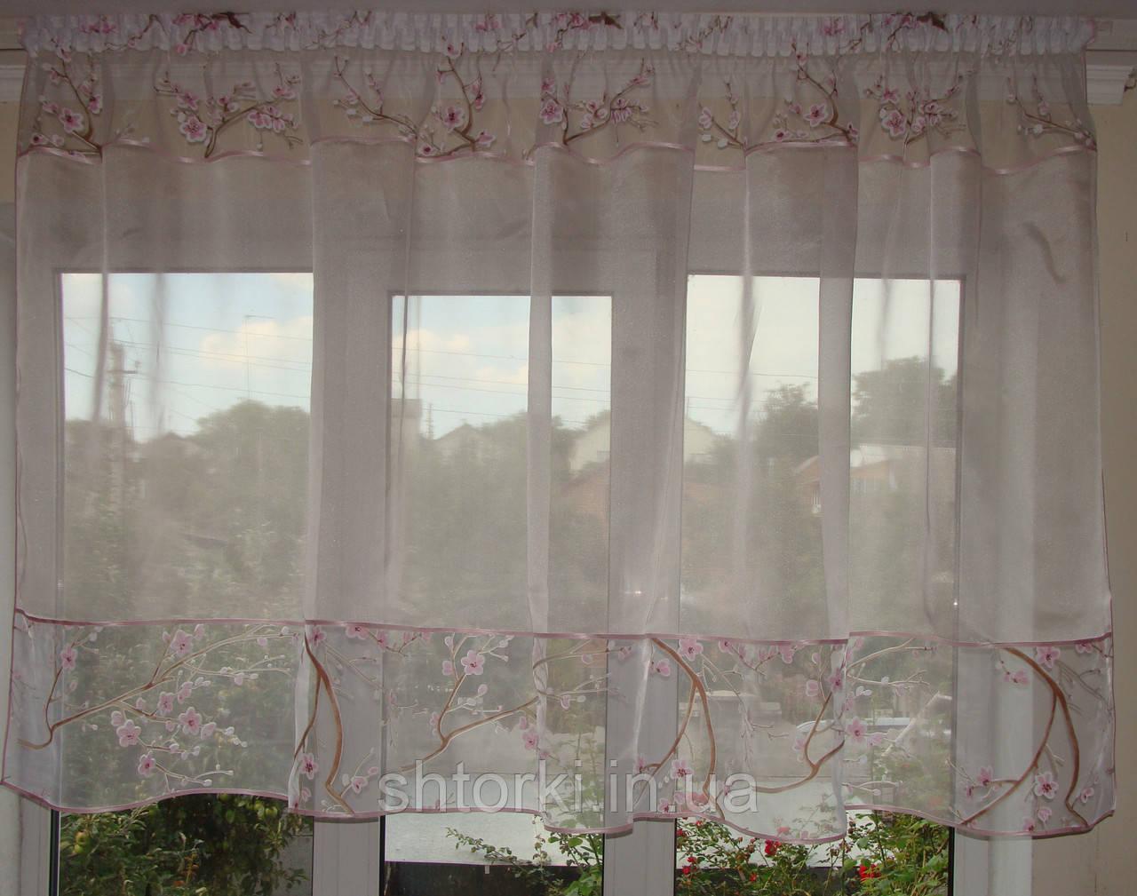 Тюль короткая нежно розовая  с вставкой сакура