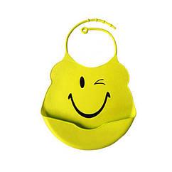 Слюнявчик силиконовый 0750 c кармашком Желтый